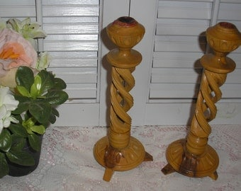 Vintage;Wood  Twisted Carved Candle Holders Pair