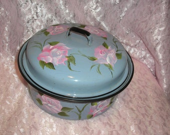 Handpainted Covered Enamal Granite Blue Bowl W/Pink Roses & Vines