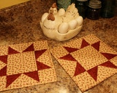 Quilted Potholders / Hot Pads / Handmade Potholders / Country Decor