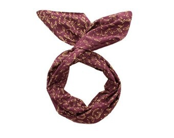 Twist Hair Scarf - Screen-printed Wire Headband - Gold Leaves on Plum