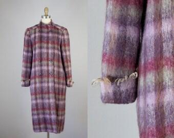 1970s Vintage Plaid Mohair Fringe Long Winter Coat (M)