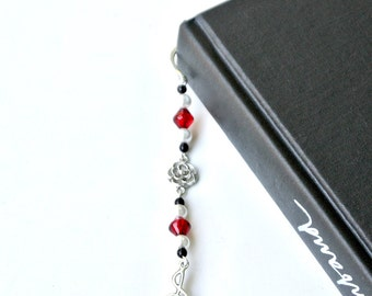 Music Charm Bookmark- Music Note Bookmark, Treble Clef, Red Beaded Bookmark, Book Lover Gift, Bookworm Gift, Book Gift, Reading Accessories