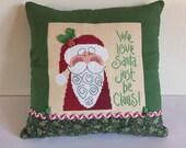 Christmas Pillow, Santa Pillow, Christmas Cross Stitch, Completed Cross Stitch, Finished Cross Stitch, Lizzie Kate Pattern