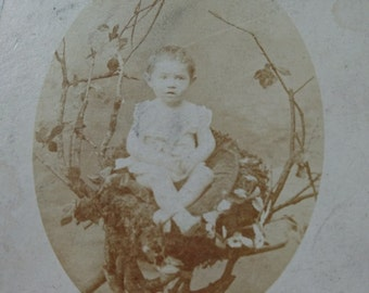 Sweet antique French timeworn sepia cabinet photograph Mademoiselle in a nest c1910 - ATTIC FIND Belle brocante