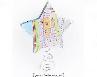 Custom Map Star Christmas Tree Topper