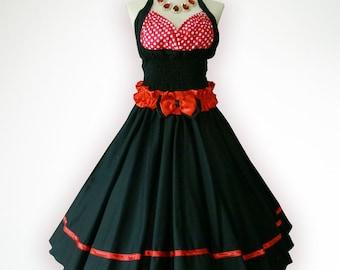Blossom Black Red Polka Dot 50s Pin up Rockabilly Swing Dress Full Swing Skirt Plus Size 18 20 22