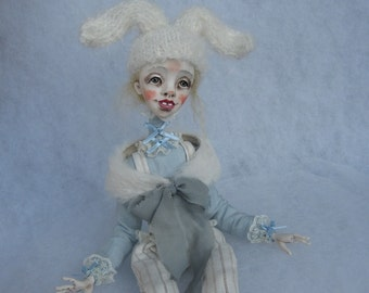 Bunny doll Art doll OOAK doll Human figure doll Collecting doll Clay doll Paper clay doll