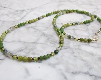 Lucky Greens  - Petite 4mm Natural Jade, Moss Agate, Serpentine and Peridot Heart Chakra Necklace