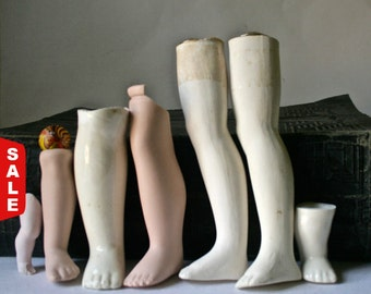 Closeout Sale - Porcelain Bisque Straight Doll Legs for Altered Art Doll Making and Repair