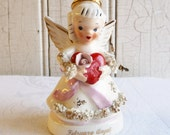 Vintage February Birthday Angel - Red Heart - Valentine's Day - Napco Made in Japan - Mid-Century 1960s