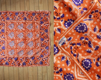 Vintage VTG VG 1950's 50's 1960's 60's Made in India Pure Silk Handwoven Scarf Square 26 inches Vibrant Orange and Purple Decorative
