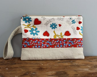 Upcycled Vintage Red and White Zippered Clutch