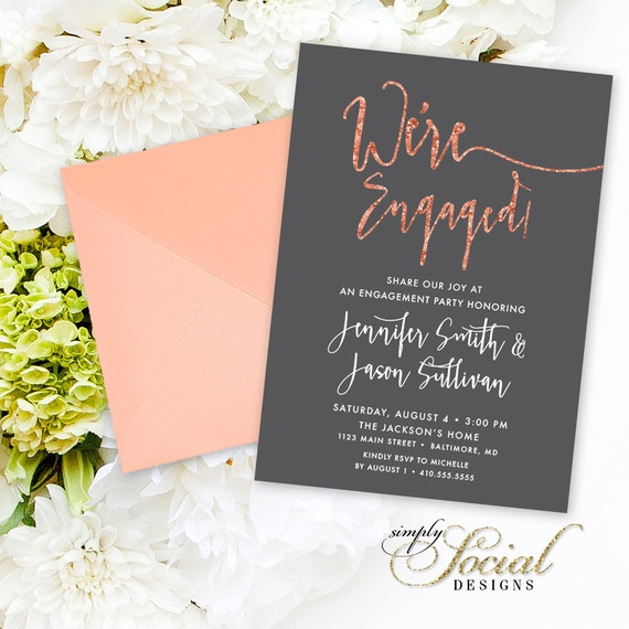 Items Similar To Calligraphy Engagement Party Invitation