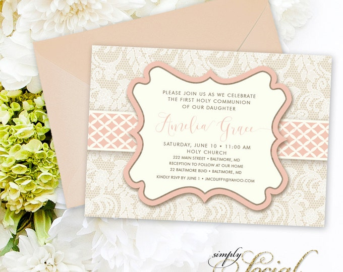 Blush First Holy Communion Invitation - Baptism Invitation Calligraphy Personalized Pink Lace Printable Party Invite