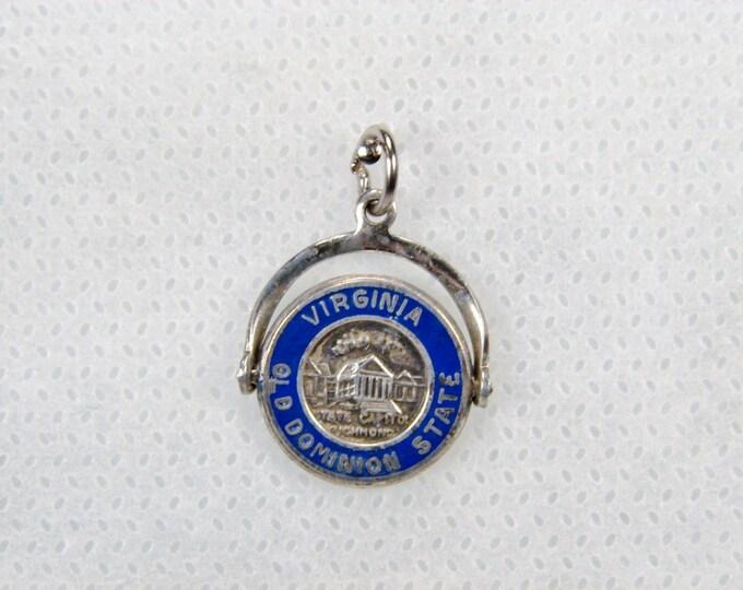 Vintage Virginia Sterling Enamel Spinner Charm