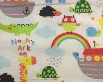 Noahs Ark - Bright  - Flannel Fabric - BTY