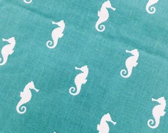 Aqua Seahorses - Quilting Cotton Fabric - BTY