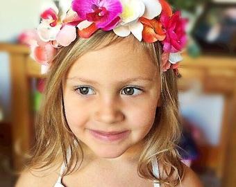 Flower Girl, Destination Wedding, Beach Wedding, Orchids, Tropical Headpiece, Wedding Headpiece, Wedding Headband, Tiara, child