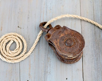 Small Vintage Double-Wheel Pulley, Rustic Industrial