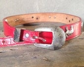 40% OFF Vintage Red Leather High Desert Silver Conch Leegin Belt S