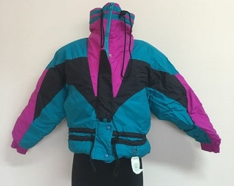 60% OFF Vintage 1980s Purple Teal Colorado Classics by Gerry Jacket Down Winter Ski Snow S (d)