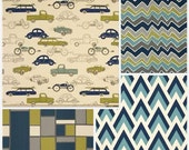 Fitted Crib sheet or Changing pad cover in your choice of prints, Retro Rides, Navy and green