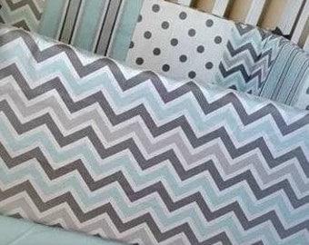 Blue and Grey Chevron Crib Bedding, Striped Crib skirt, Patchwork bumper, baby boy crib set, gray chevron bumper