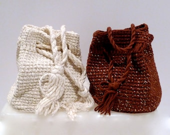 Brown and White crochet purse Set 1950's Vintage Drawstring bag with gold metallic thread Pouf handbag Rug Yarn Crochet Slouchy Bag Handmade