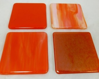 Fused Glass Coasters with Mandarin Orange Iridescent, Streaky and Opal Art Glass - set of 4