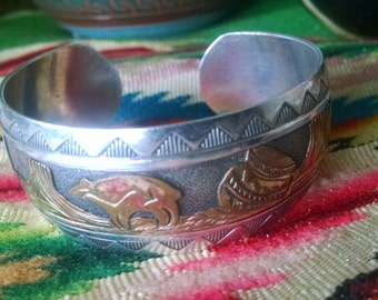 Native American Hopi Sterling Silver Storyteller Bracelet