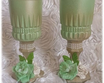 Set of 2 Candle Holders-Upcycled -Altered- Wedding Decorations – Desk Setting –  Pen Holder- ReadyTo Ship