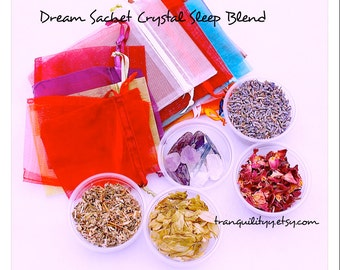 Dream Sachet Crystal  Blend ,  Organic Lavender , Rose Petals, Hops, Mugworth, Lavender Essential Oils, Sleep Crystals  By: Tranquilityy