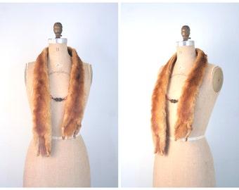 1930s red mink fur stole - full body - head & tails / 30s neckpiece - vintage 40s glamour / bakelite chain closure