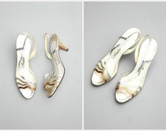 vintage 70s disco party metallic slingbacks - sexy kitten heels / Amano - 1970s ladies acrylic shoes / Glam - open toe slingback sandals