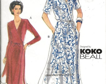 Vogue Easy 7014 KOKO BEALL Wrap Dress Sewing Pattern Size 12, 14, 16 Evening or Day UNCUT
