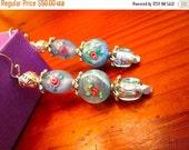So Lovely: MURANO Hand-Blown Italian Venetian Glass, MILLEFIORI glass and Sterling Silver Vintage Dangle/Drop Pierced Earrings