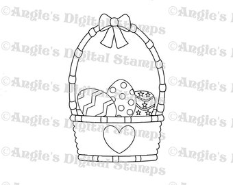 Easter Basket Digital Stamp Image