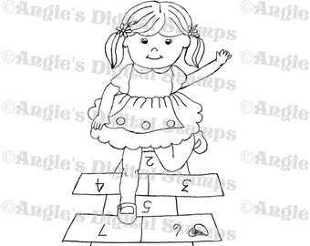 Girl Playing Hopscotch Digital Stamp Image