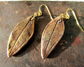 Earrings Leaf Dangles Real Leaf Impression Boho style Gold Color on Hypoallergenic Shepherd Hook