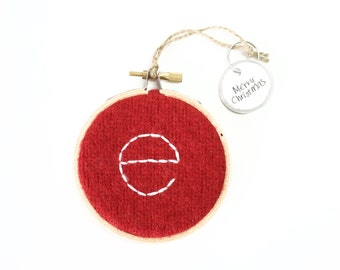 Embroidered Initial Hoop / Initial Christmas Ornament / LETTER E Monogram / Wall Decor / Red Felted Sweater Wool Ornament by WormeWoole