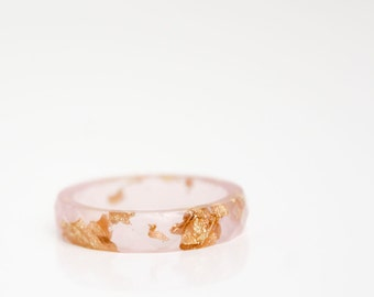 resin ring - size 8.5 transparent pale pink with gold leaf  thin multifaceted eco resin ring