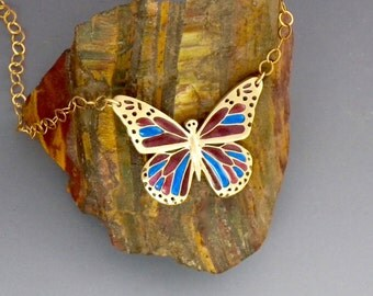Butterfly necklace, bronze, resins, for her
