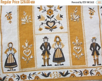 SALE15% Paired up. Vtg linen kitchen towel / Scandinavian motifs / husband wife couple / brown yellow / man woman / very good condition