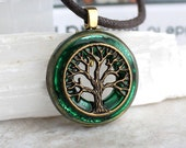 forest  green tree necklace, nature necklace, celtic jewelry, wiccan jewelry, unique gift, boyfriend gift, mens jewelry, mens necklace