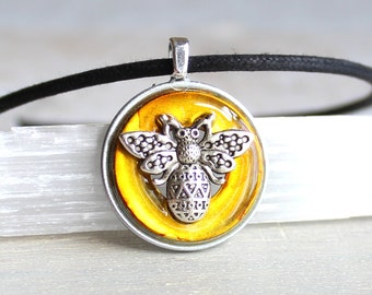 yellow bee necklace, bee jewelry, bumble bee, honey bee, unique gift, nature necklace, bug necklace, bug jewelry, cord necklace, mens gift