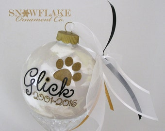 IN MEMORY of PET Glass Christmas Ornament Keepsake Gift