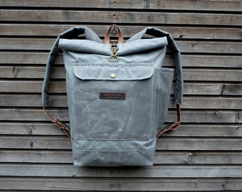 Waxed canvas rucksack / waterproof backpack with roll up top and double waxed bottem COLLECTION UNISEX