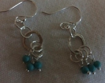 Turquoise and fine silver circles