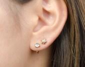 Round White Topaz Hug Hoops, Sterling Silver & Gold Plated, Gemstone Hug Earrings, Open Hoops, Minimalist Jewelry, Hand Made, Gift, EA031N