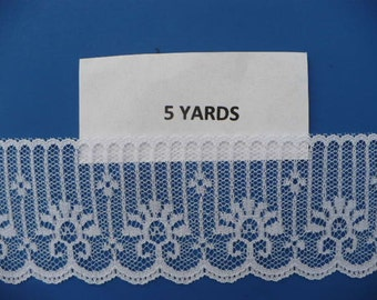 5 Yards Scalloped White Polyester  Lace